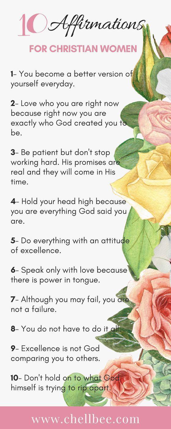 10 Daily Affirmation for Christian Women #affirmations #women #faith #Christian #inspiration #encouragement #selflove