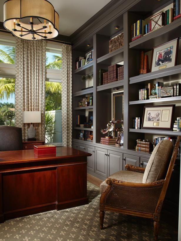 See this transitional home office with gray built-ins and a mahogany desk  on HGTV.com. | Home office design, Contemporary home office, Home office
