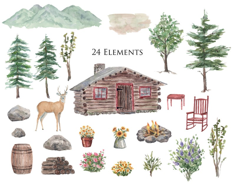 Watercolor Clipart Log Cabin Mountains Deer Pine Trees Watercolor Background Cabin Logcabin M Watercolor Mountains Watercolor Clipart Watercolor Images