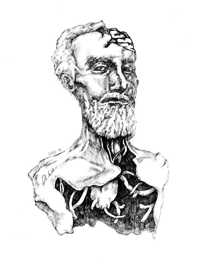 pen illustration 흉상(rodin)