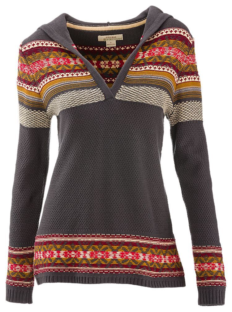 Natural Reflections Jacquard Hooded V-Neck Sweater for Ladies ...