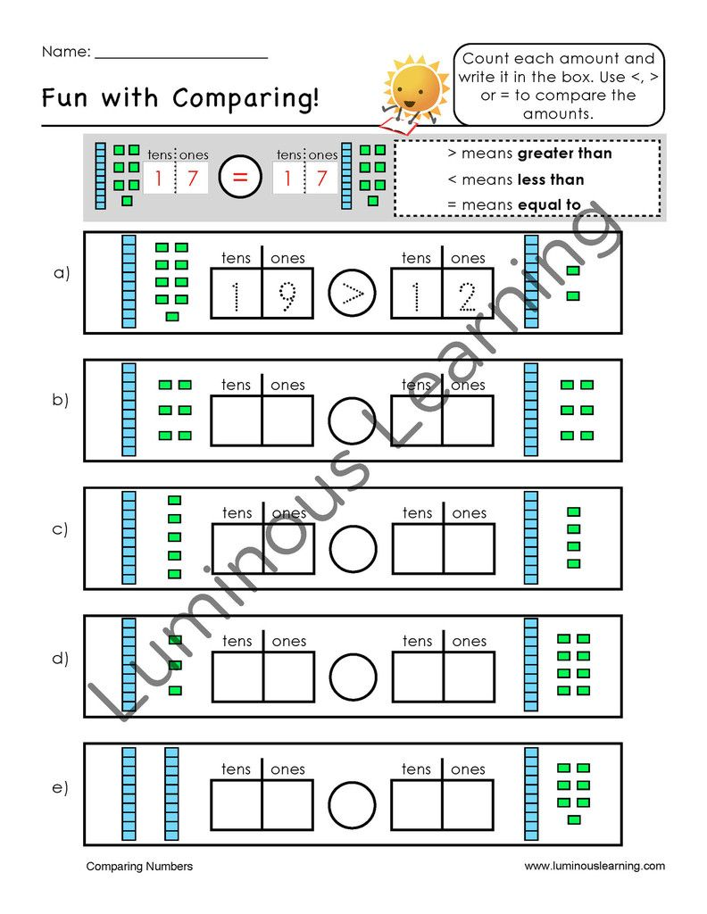 Grades K - 1 Number Sense and Place Value Printable Workbook ...