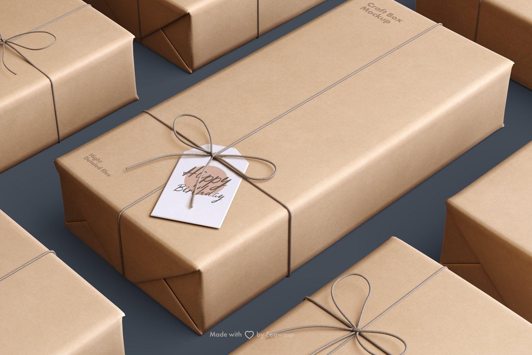 Download Craft Paper Giftbox Mockup Ide Kemasan Ide Kemasan