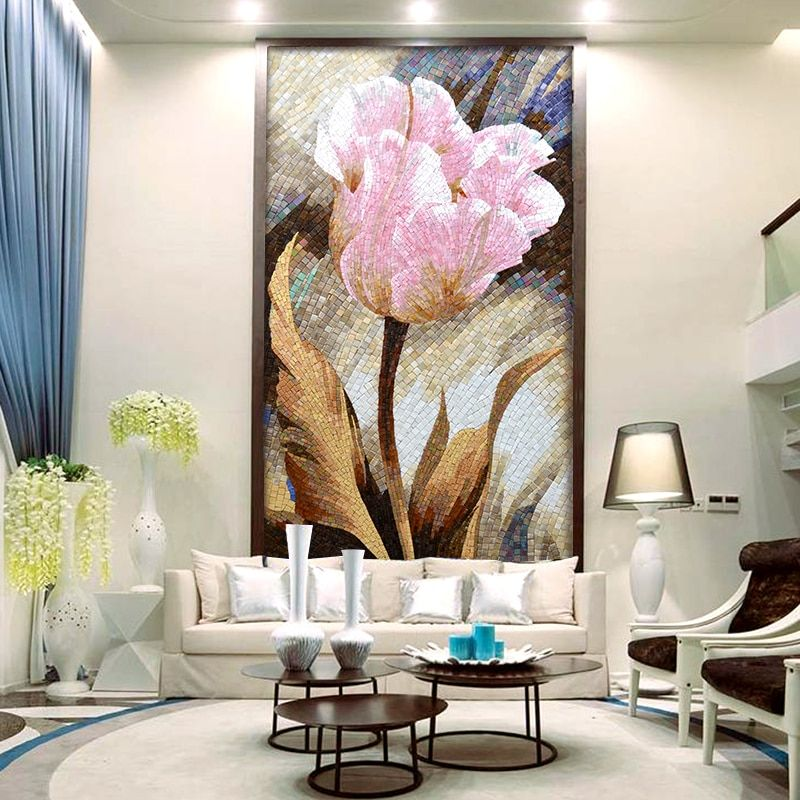 Pachira Tree Parquet Handcraft Customized Art Mural Glass Mosaic Tile For Living Room Bathroom Hotel Hall Wall Decoration Yy Decoration Bedroom Maison Mosaique