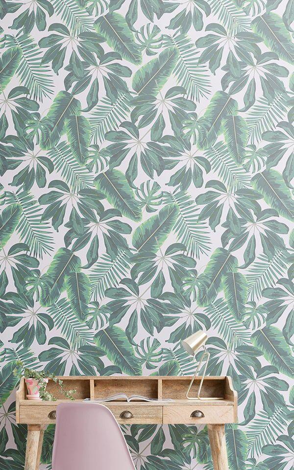 Carta da Parati con Foglie Tropicali Miste Leaf