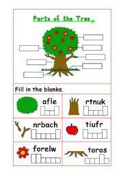 english worksheet parts of the tree sensory play time esl worksheets for beginners. Black Bedroom Furniture Sets. Home Design Ideas