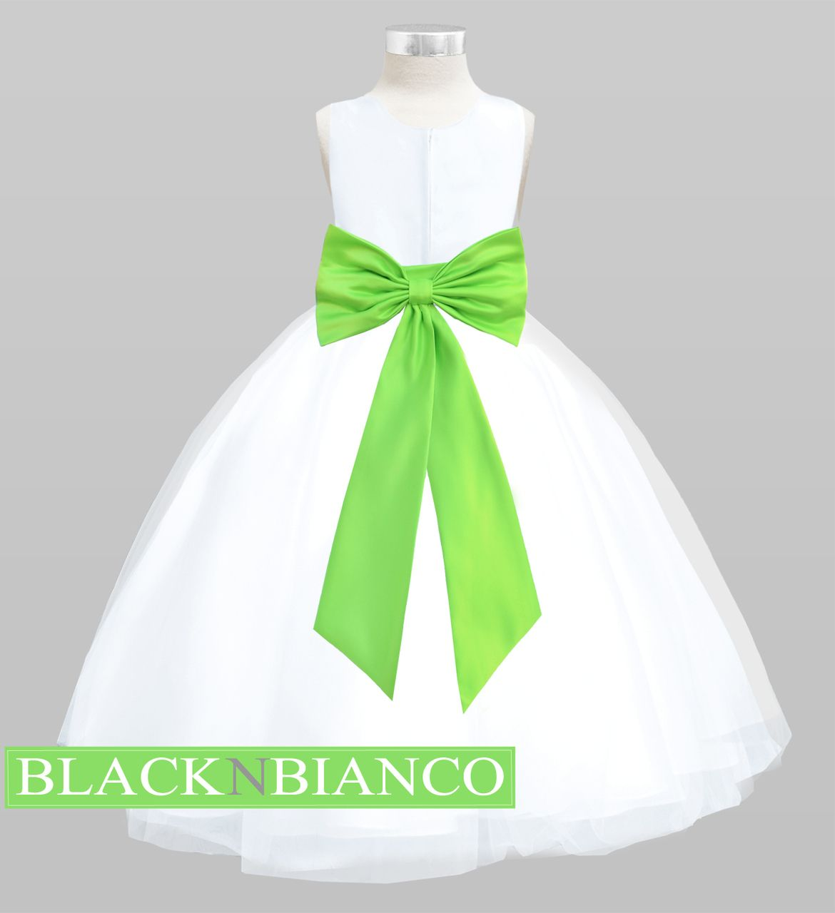 Flower Girls White Satin Tulle Dress w/ Removable Sash, Bow and ...