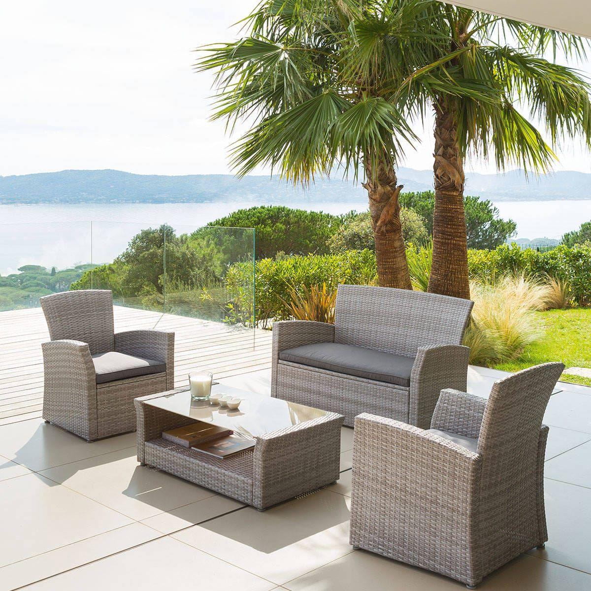 Salon de jardin Bora Bora Grège Hespéride 4 places | Maison ...