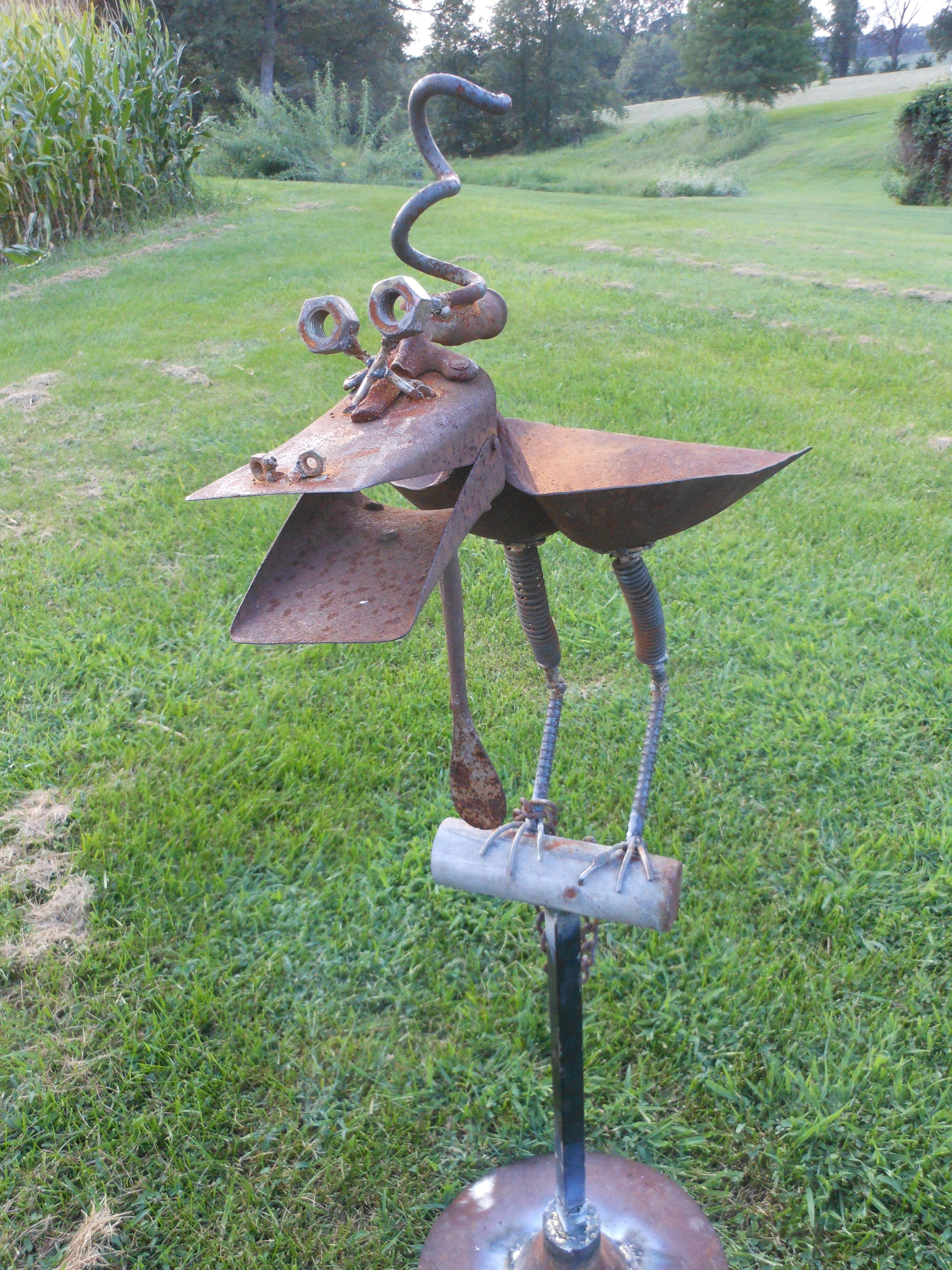 Dragon Bird Scoop Shovel Bird Feeder On A Perch Rusty Relics