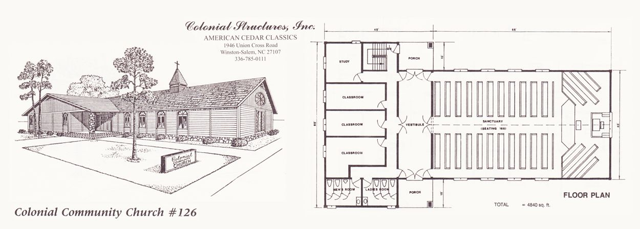 Colonial church plans colonial community church 126 for Floor plan church