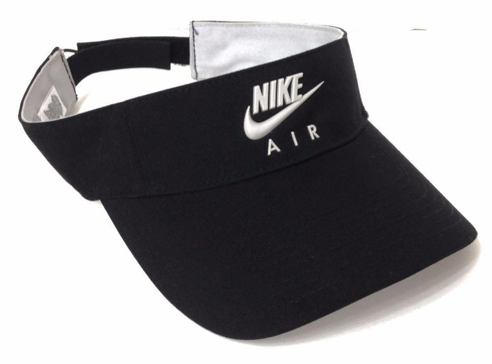 ce07ed78d6224 NIKE AIR SUN-VISOR Black Light-Gray Swoosh Golf Tennis Beach Hat Men Women  OSFM  Nike  Visor  tennisoutfit