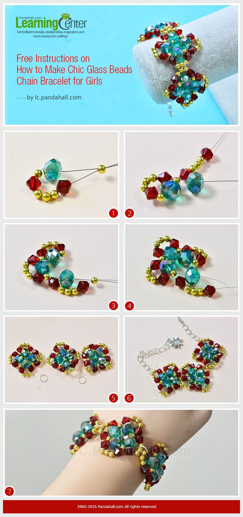 Free Instructions on How to Make Chic Glass Beads Chain Bracelet for ...
