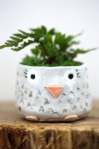 A sweet little porcelain planter with a vintage owl design. It is  hand-glazed in a glossy white inside and out, it is water tight; the picture shows it housing a darling tillandsia air plant.  It is the perfect accessory for your home, your office or your business!. This little owl has the ability to make anyone smile! (I'm sure you're smiling right now ^_^).  ........................ this listing is for  1 PLANTER  (air plant not included)  ______________________  MEASUREMENTS --- 3...