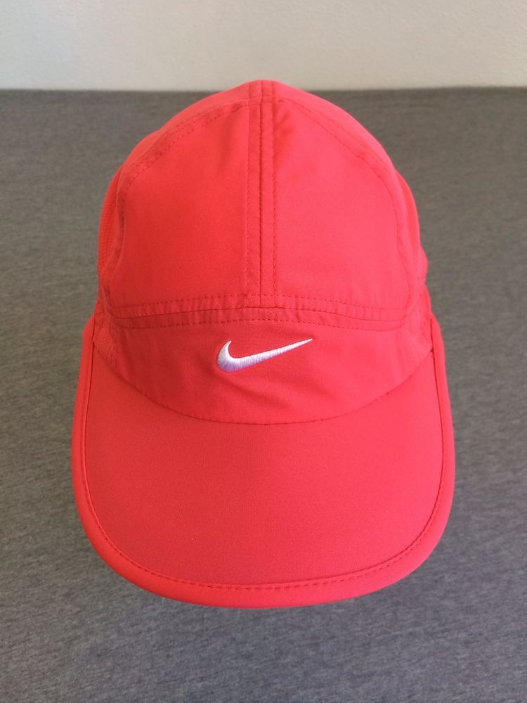 NIKE DRI-FIT Hat FeatherLight Coral Pink Adjustable Running Sport Cap  !EXCELLENT  Nike  Running 659947a645a