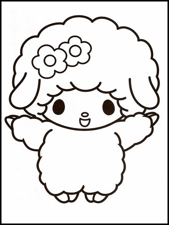 Onegai My Melody 7 Printable coloring pages for kids