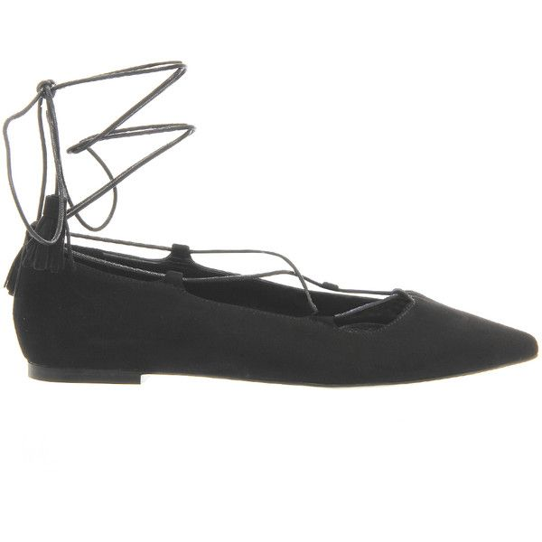 Office Low Down Lace Up Flats (£40) ❤ liked on Polyvore featuring shoes, flats, zapatos, flat pumps, lace up shoes, flat lace-up shoes, laced flats and flat shoes