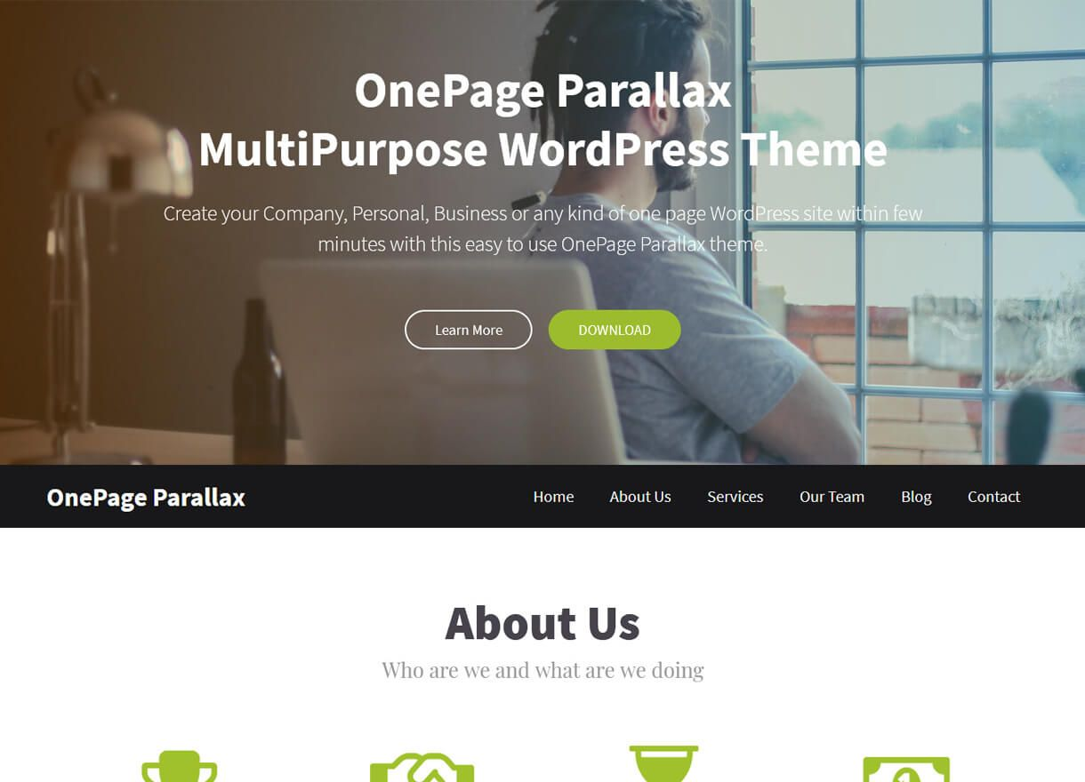 Onepage Parallax Best Free One Page WordPress Themes