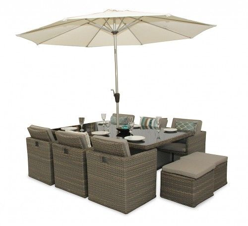 Woburn Rattan Cube Patio 10 Seater Chair Set With Stool Natural