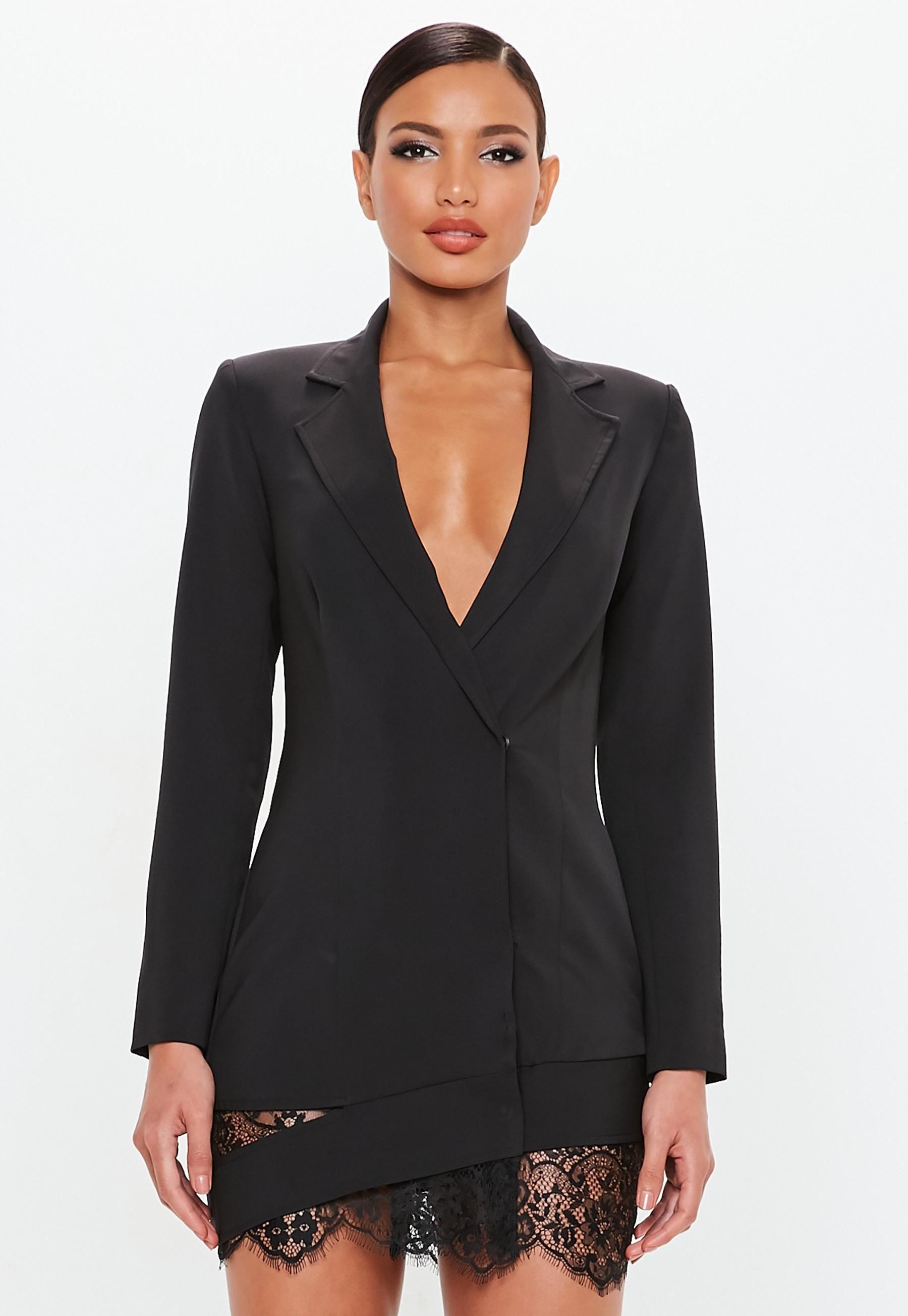 Peace Love Black Lace Hem Blazer Dress Missguided Clothes Fashion Outfits Blazer Dress [ 2607 x 1800 Pixel ]