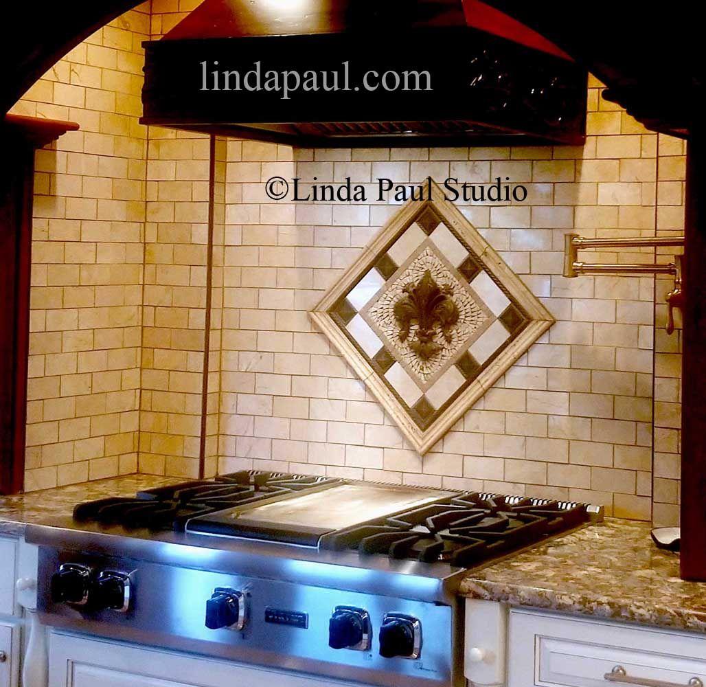 Small Tile Medallions For Kitchen Backsplash Fleur De Lis Flower Grapes Bronze Tile Backsplash Kitchen Backsplash Designs Small Kitchen Backsplash