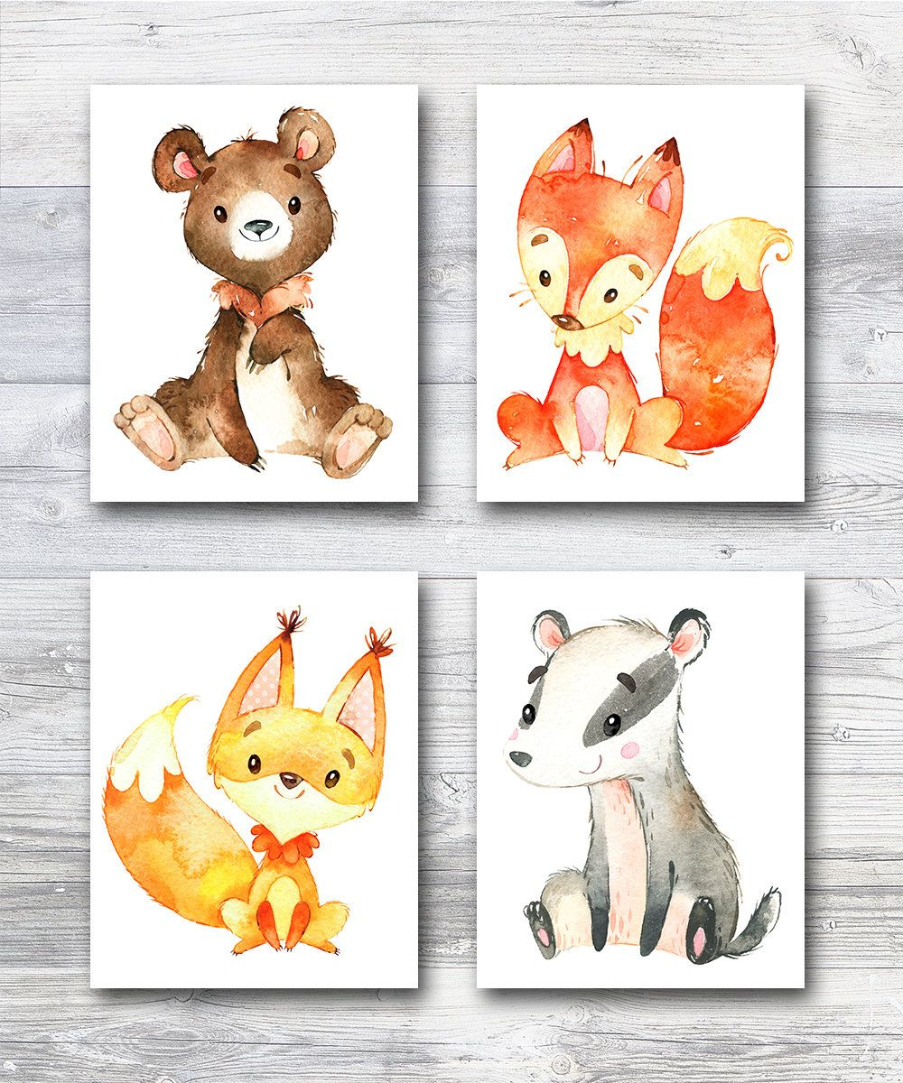 Woodland Nursery Animal Baby Animal Prints Baby Animals Art Canvas Set Of 4 Neutral Playroom Posters In 2020 Baby Animal Prints Animal Nursery Baby Animal Art