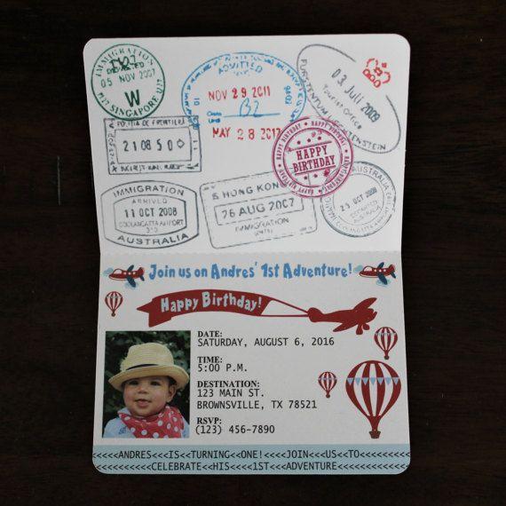 Passport invitation vintage airplane time flies airplane hot air having a vintage airplane themed birthday party this unique passport invitation will surely impress your filmwisefo Choice Image