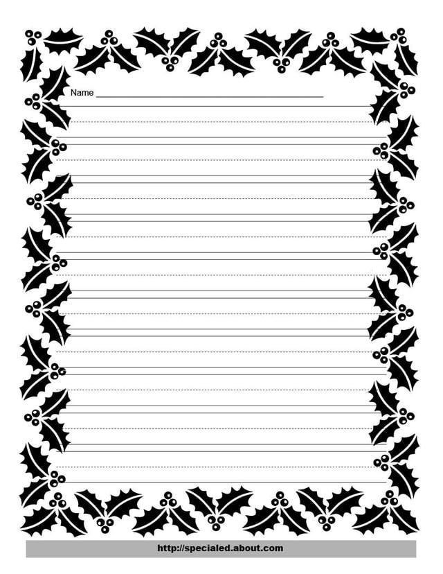 These Free Christmas Printables Are Perfect For Kids\u0027 Writing Tasks - printable bordered paper designs free