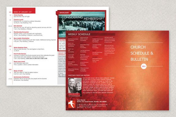 Modern Church Bulletin Brochure Template  This Is A Bulletin