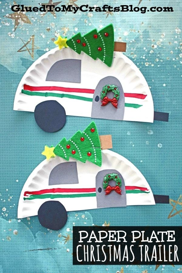 #gluedtomycrafts Paper Plate Christmas Trailer - Holiday Kid Craft Idea