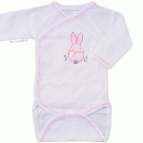c54905abab76a Body bébé fille en jersey de coton blanc brodé Lapin rose fabriqué au  Portugal à 4