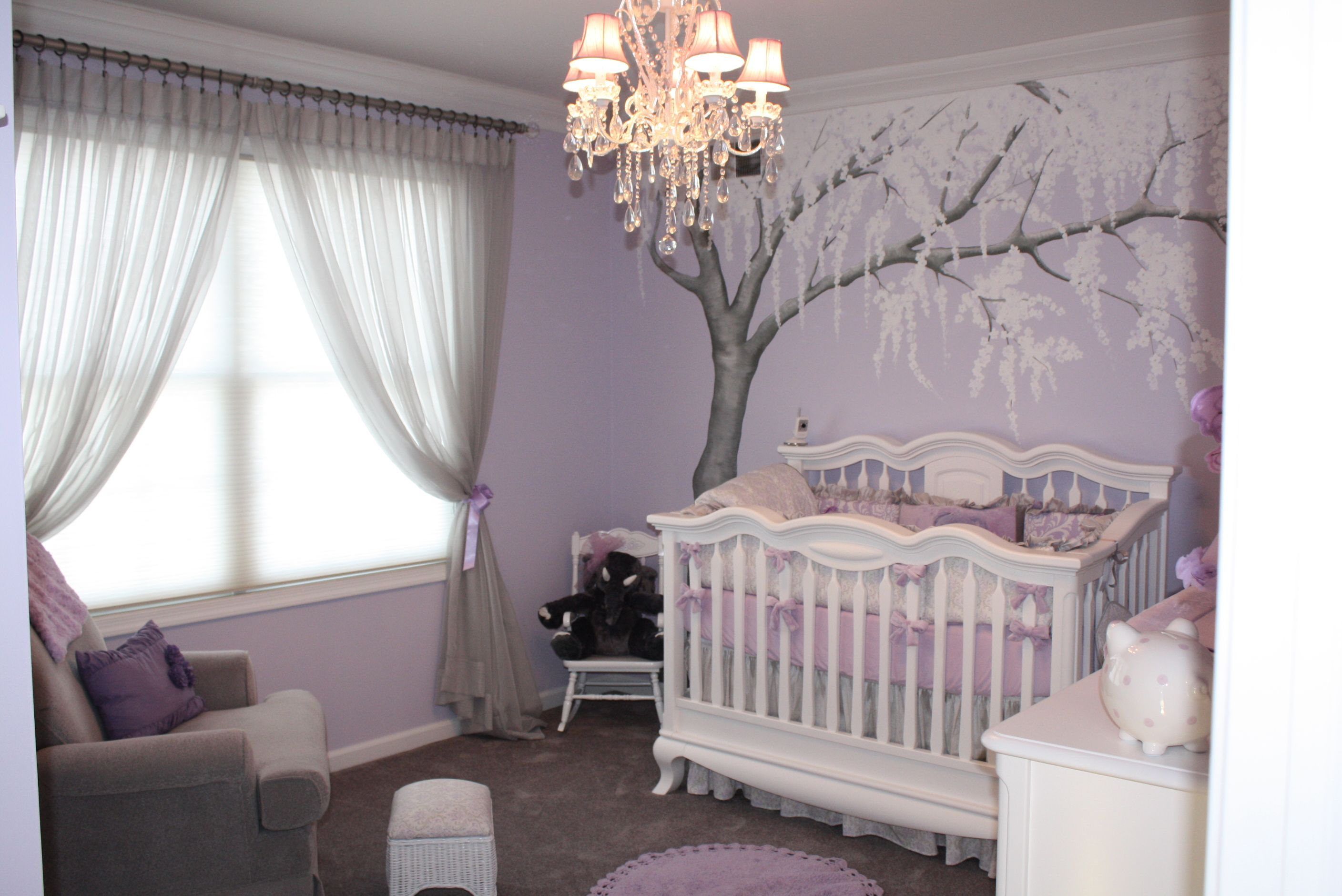 Beautiful Nurseries sparkly cherry blossom nursery | baby lyrics, damask bedding and
