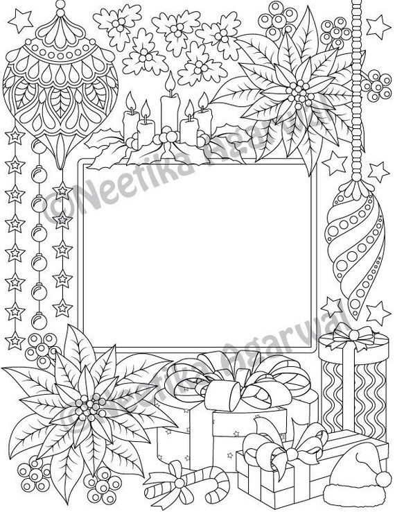 Christmas Coloring Card Christmas Adult Coloring Page