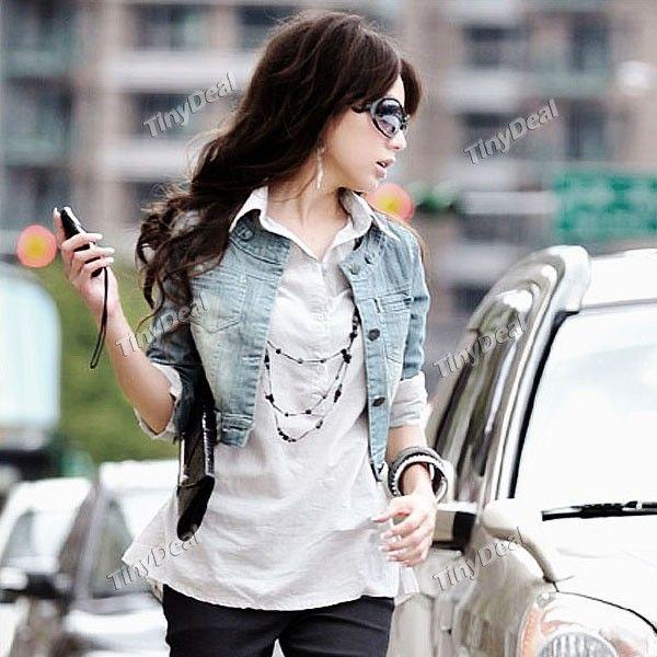2612e5db12fae Fashionable Short Denim Jacket Jean Outerwear with 7-length Sleeve ...