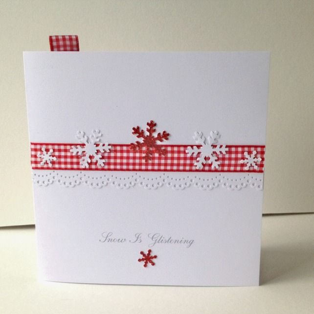 Christmas Card Pk of 5,'Snow & Gingham'Handmade Xmas Cards