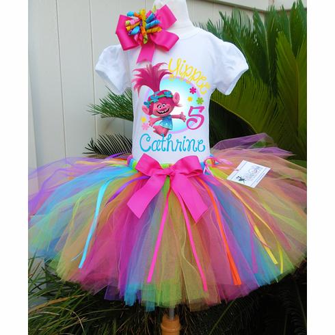 Trolls Girl Personalized Birthday Tutu Outfit Party Set Dress Gift Poppy