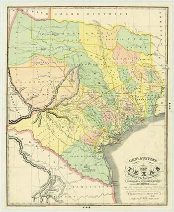 Map Of Texas 1840.General Austin S Map Of Texas With Parts Of The Adjoining States