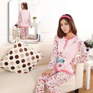 6.20Women s Cute Cartoon Dog Long Sleeve Cotton Pajamas Sleepwear Home Wear 2d7d59b4c