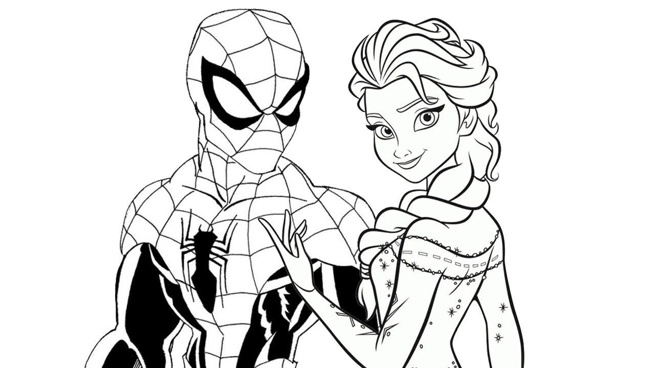 enjoy this free disney spiderman vs elsa coloring page and have