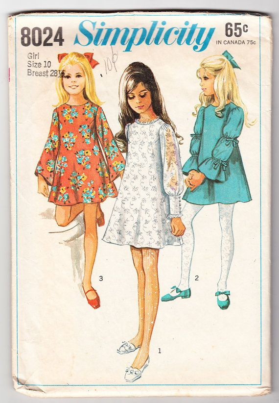 Vintage 1968 Simplicity 8024 Sewing Pattern Girls\' Dress with Three ...