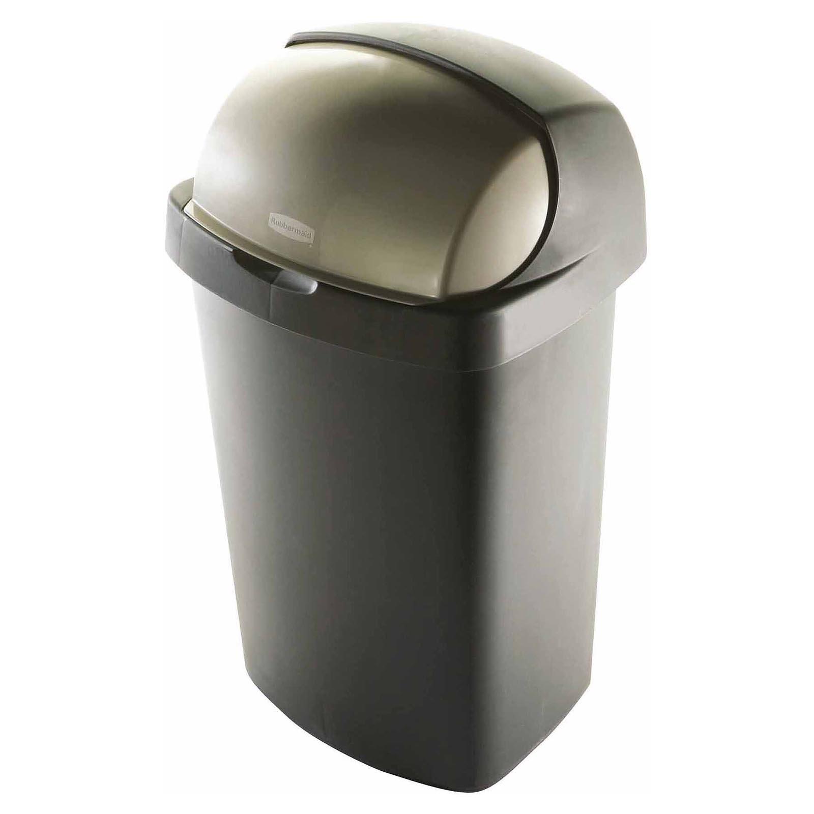Rubbermaid 13 Gallon Roll Top Wastebasket Bronze In 2019