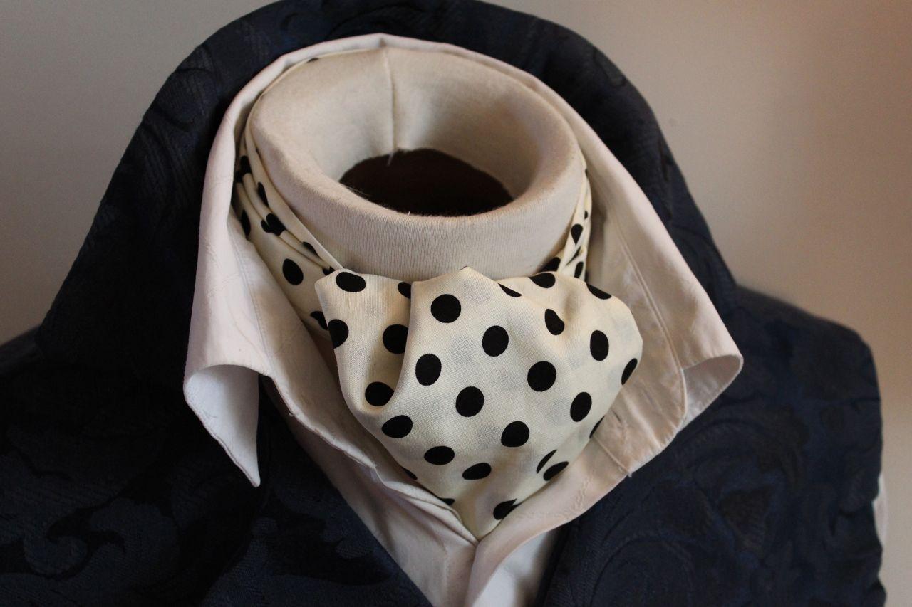 Day Ascot Cravat Tie - 100Cotton Ivory with Black Dot