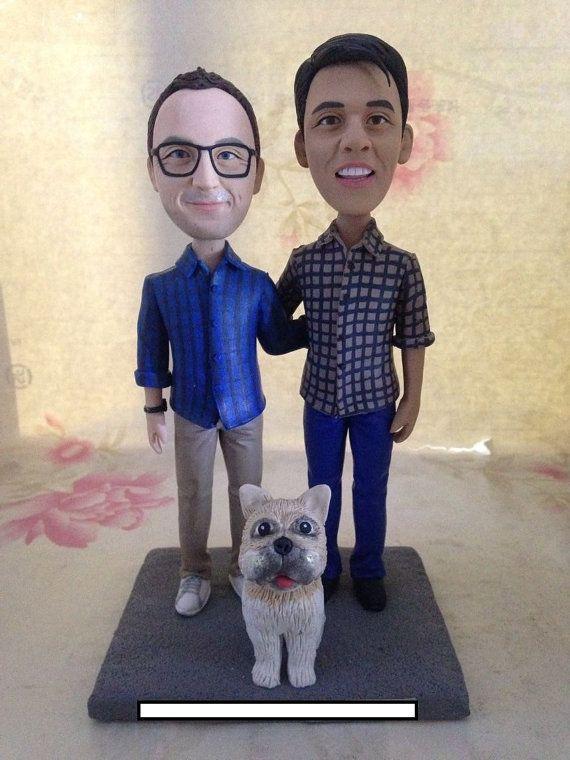 Gay Male With Pets Custom Wedding Topper by miniucaketopper