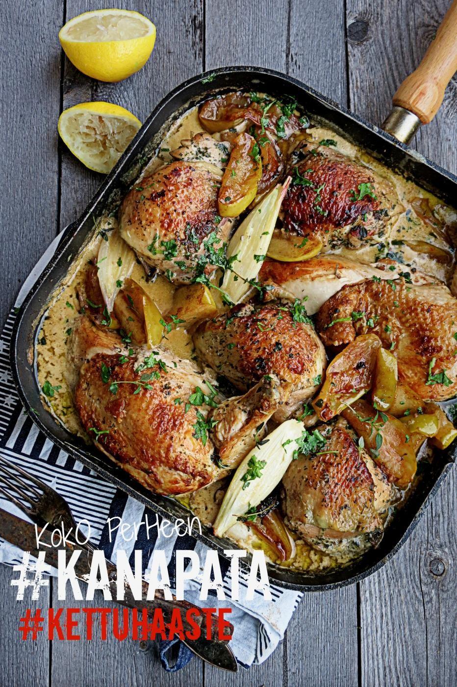 Omenainen kanapata lämmittää talvella. Kastikkeen kruunaa omenat sekä pähkinävoi, myös tilkka Calvadosta tekee terää kastikkeelle.