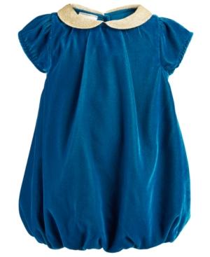 First Impressions Baby Girls Metallic Velvet Peter Pan Collar Bubble Dress
