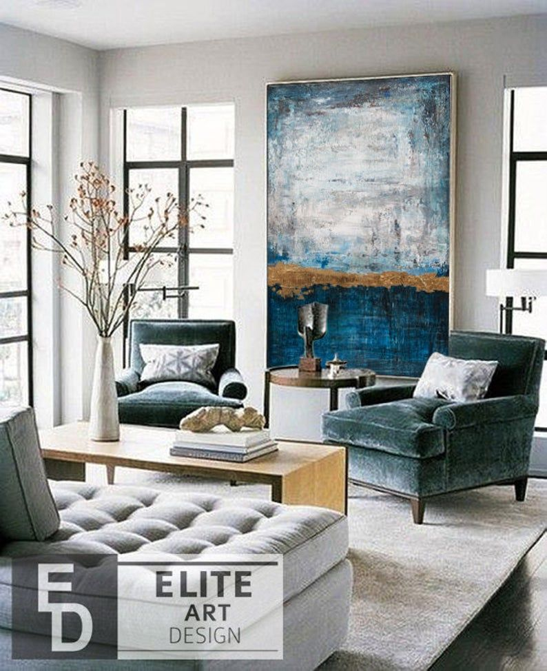 Large Canvas Painting Oversize Painting Blue Painting Gray Etsy Living Room Decor Modern Contemporary Living Room Design Living Room Colors