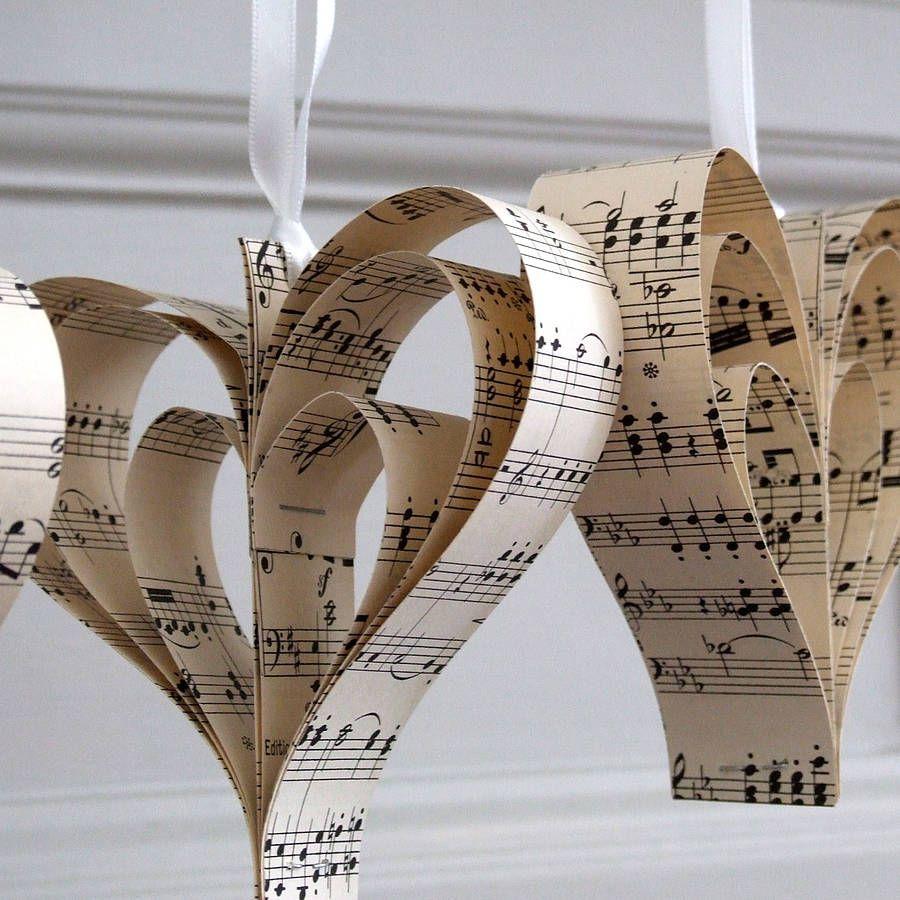 Hanging Handmade Sheet Music Wooden Heart Decoration
