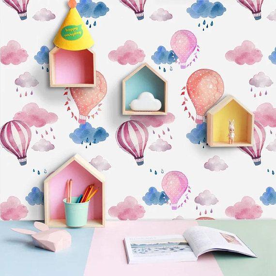 0e28e6b329818 Self-adhesive Removable Wallpaper- Watercolor Air Balloon and Cloud ...