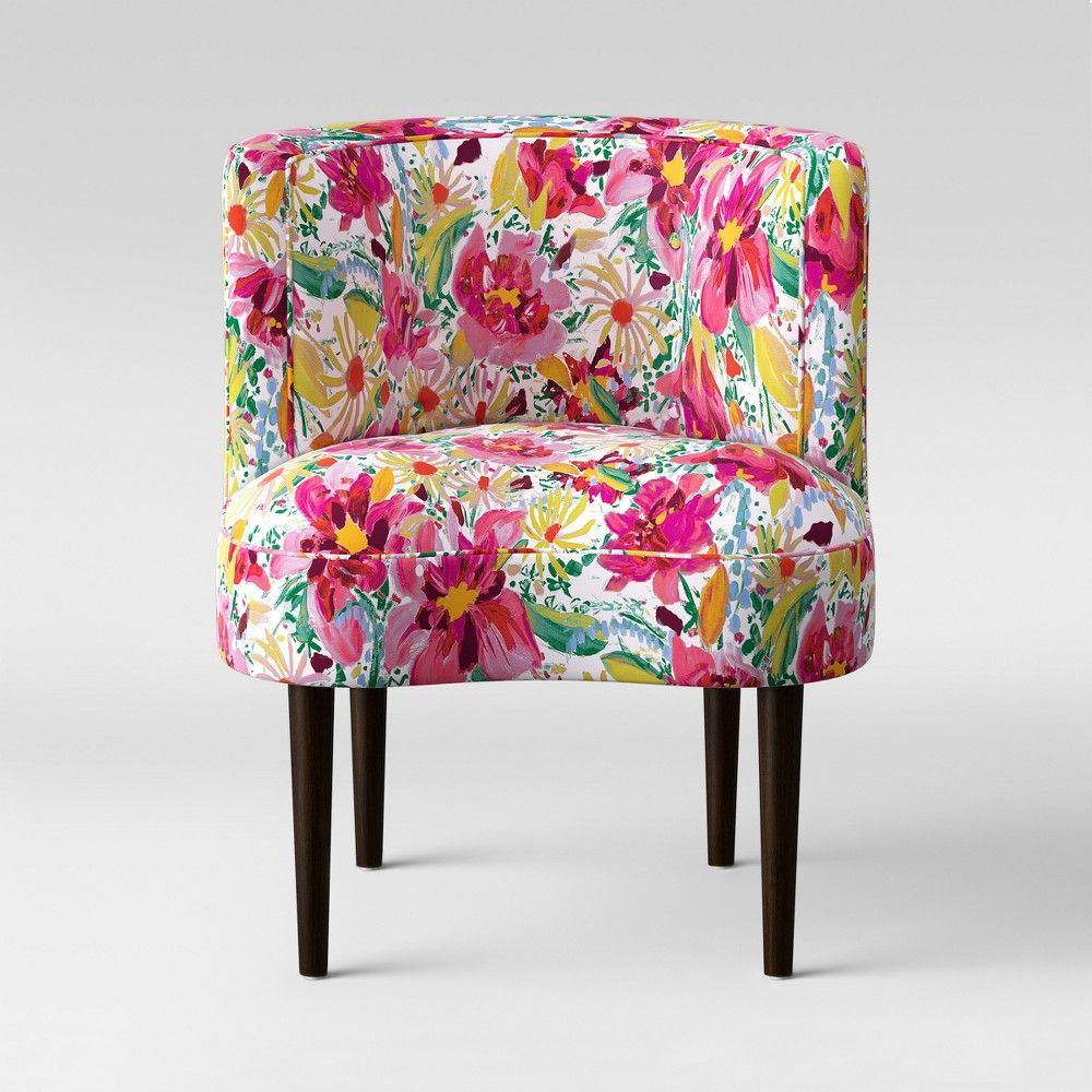 Clary curved back accent chair bright floral opalhouse
