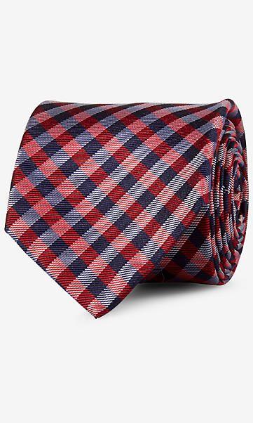 check narrow silk tie