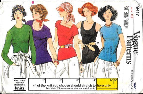 Women\'s Vintage Cotton T-Shirts Vogue Uncut Sewing Pattern 9417 ...